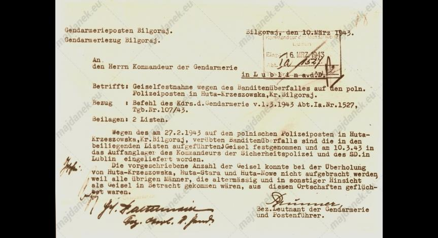 Powiększ obraz: Meldunek żandarmerii niemieckiej w sprawie aresztowanych, 10 marca 1943