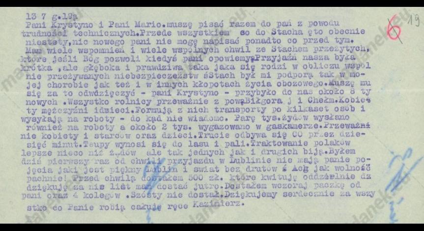 Powiększ obraz: Odpis z meldunku, wykonany latem 1943 r., XII-10, k.19.