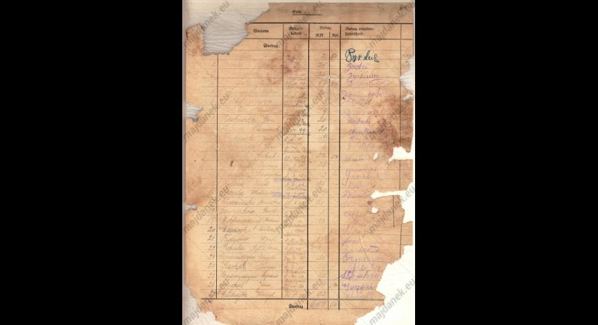 Powiększ obraz: Dokument z rejestracji Jana Jureckiego w obozie
