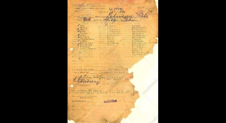 Powiększ obraz: Kartoteka odzieżowa Feliksa Łukasiewicza, 16 lutego 1943