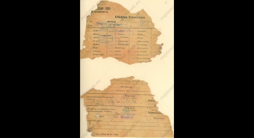 Powiększ obraz: Fragmenty kartoteki odzieżowej Marii Wolf, 2 czerwca 1943