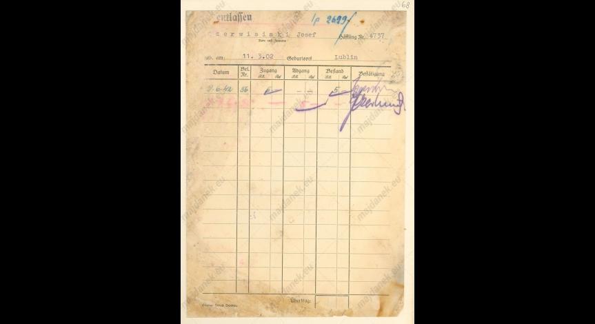 Powiększ obraz: Kartoteka pieniężna Józefa Czerwisińskiego, 9 czerwca 1942