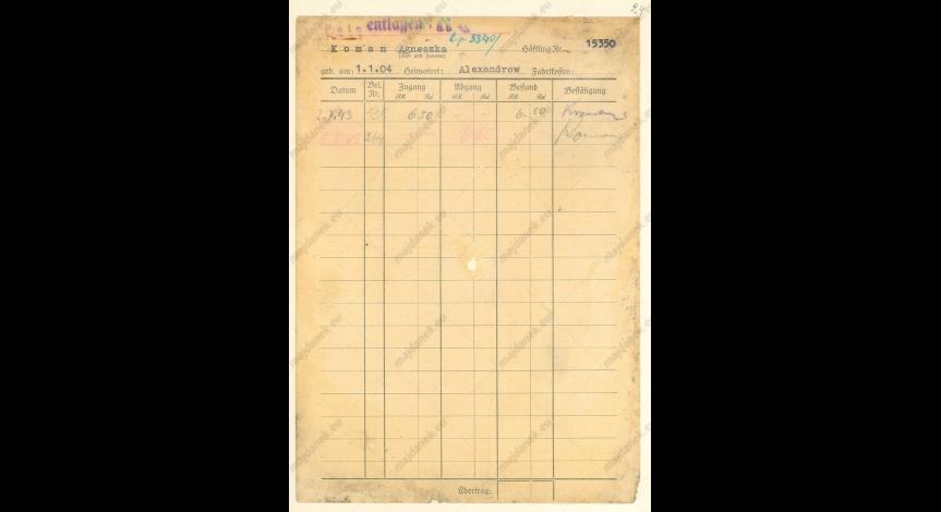 Powiększ obraz: Kartoteka pieniężna Agnieszki Koman, 2 lipca 1943, Id.26,v.14,k.24