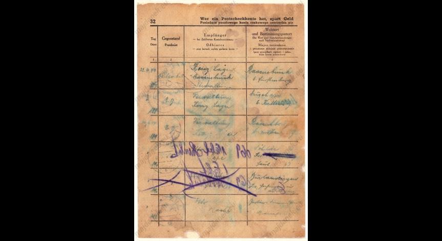 Powiększ obraz: 22 kwietnia 1944 r. poczta obozowa KL Lublin wysłała kilka przesyłek, przekazów pieniężnych i paczek z rzeczami wartościowymi