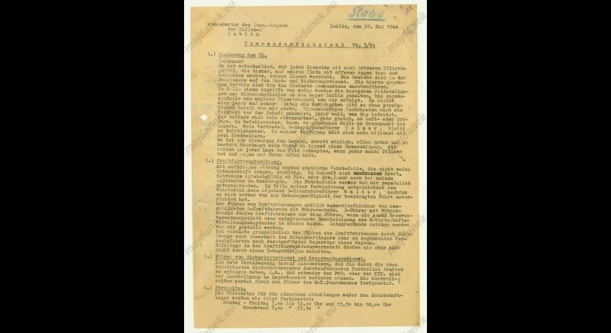 Powiększ obraz: Rozkaz nr 3/44, 22 maja 1944