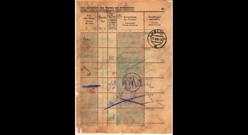 Powiększ obraz: 22 kwietnia 1944 r. poczta obozowa KL Lublin wysłała kilka przesyłek, przekazów pieniężnych i paczek z rzeczami wartościowymi.