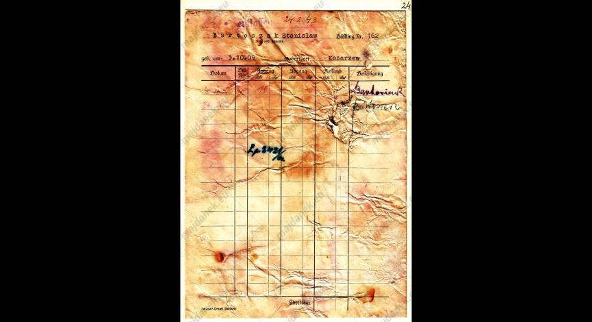 Powiększ obraz: Kartoteka pieniężna Stanisława Bartoszaka