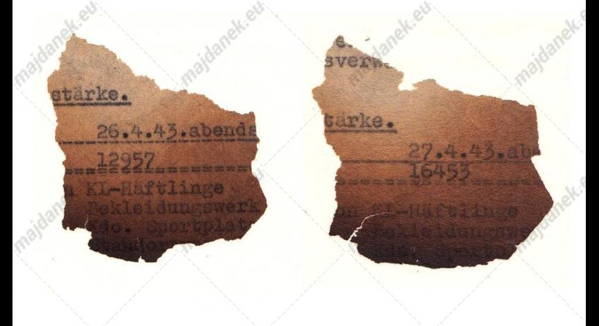 Powiększ obraz: Szczątki stanów dziennych obozu z 26 i 27 kwietnia 1943 r.