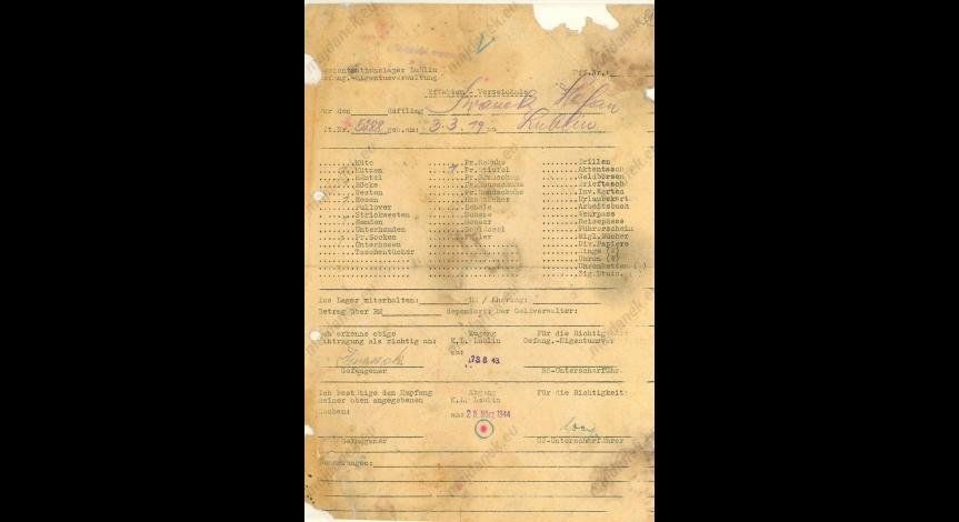 Powiększ obraz: Kartoteka odzieżowa Stefana Iwanka, 28 marca 1944