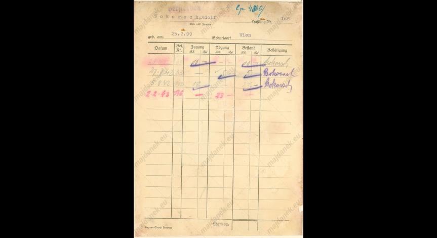 Powiększ obraz: Kartoteka pieniężna Adolfa Gokorscha, 28 czerwca 1942, Id.26,v.8,k.72