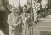 Show larger image above: Former Majdanek prisoners during commemoration ceremony, 1946