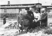Show larger image above: Fr. Stefan Wyszyński near the ashes of the Majdanek victims, 1946