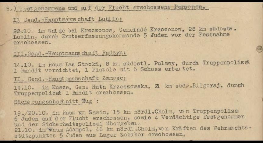 Powiększ obraz: 5A. Fragment meldunku Komendantury Policji Porządkowej w dystrykcie lubelskim z 25.10.1943 r. do Dowódcy Policji Porządkowej w Krakowie