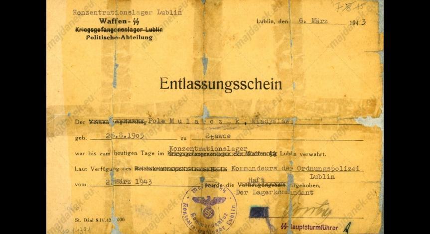 Powiększ obraz: Formularz  zwolnienia Władysława Mularczyka, 3 marca 1943