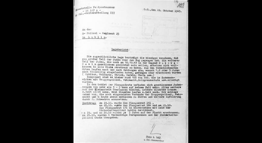 Powiększ obraz: 6. Meldunek sytuacyjny dowódcy III Oddziału Konnego SS i Policji w Chełmie majora Alfreda Eggerta z 22.10.1943 r. do 25. Pułku SS i Policji w Lublinie