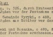Pokaż powiększenie powyżej: 7. Fragment meldunku Komendantury Policji Porządkowej w dystrykcie lubelskim z 31.10.1943 r. do Dowódcy Policji Porządkowej w Krakowie