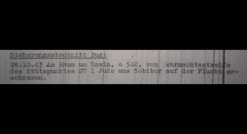 Powiększ obraz: 8. Fragment meldunku Komendantury Policji Porządkowej w dystrykcie lubelskim z 1.11.1943 r. do Dowódcy Policji Porządkowej w Krakowie