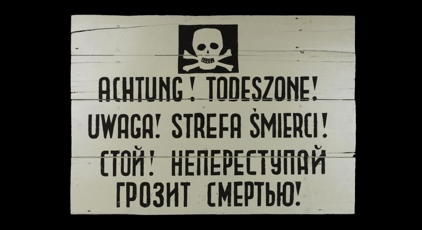 Powiększ obraz: Obozowa tablica ostrzegawcza