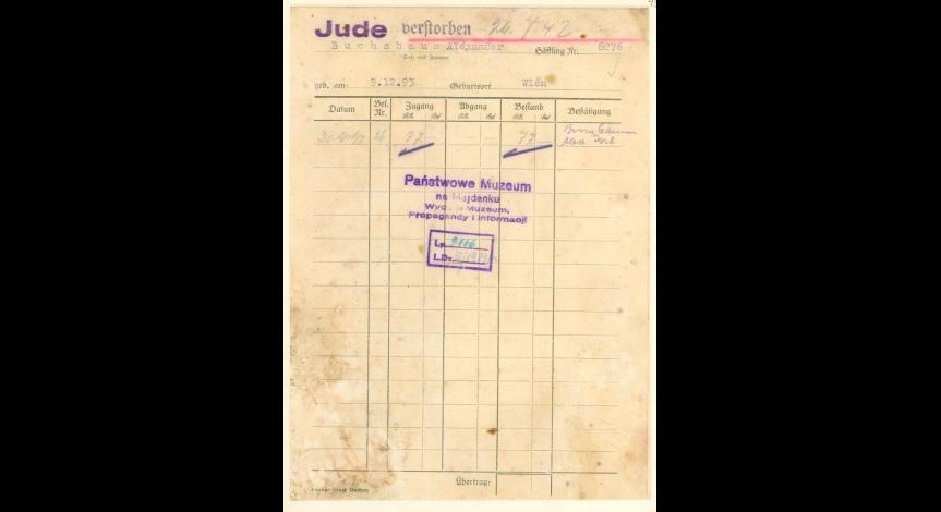 Powiększ obraz: 3. Kartoteka pieniężna żydowskiego więźnia z Wiednia, Aleksandra Buchsbauma