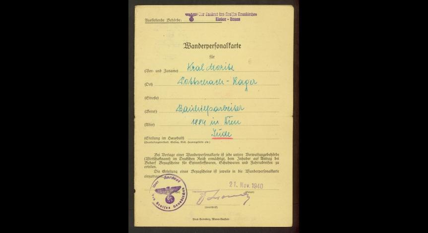 Fot.14. Dokument upoważniający Moritza Krala do poboru odzieży roboczej, narzędzi pracy itp.