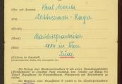 Pokaż powiększenie powyżej: Fot.14. Dokument upoważniający Moritza Krala do poboru odzieży roboczej, narzędzi pracy itp.
