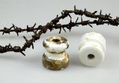 Show larger image above: Fragments of barbed wire, electrical insulators