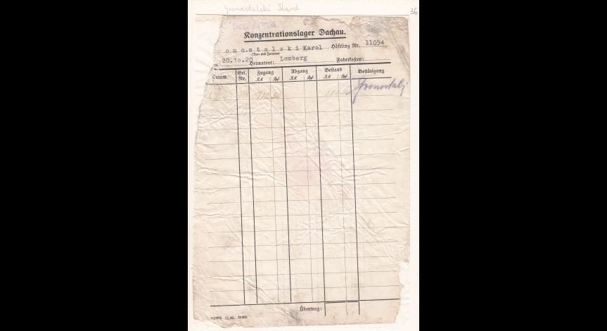 Powiększ obraz: 9. Kartoteka pieniężna więźnia politycznego Karola Gronostalskiego