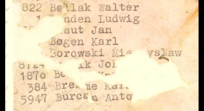 Fragment wykazu więźniów z ostatniego transportu - ostatni Antoni Burcan