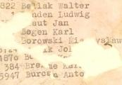 Pokaż powiększenie powyżej:  Fragment wykazu więźniów z ostatniego transportu - ostatni Antoni Burcan