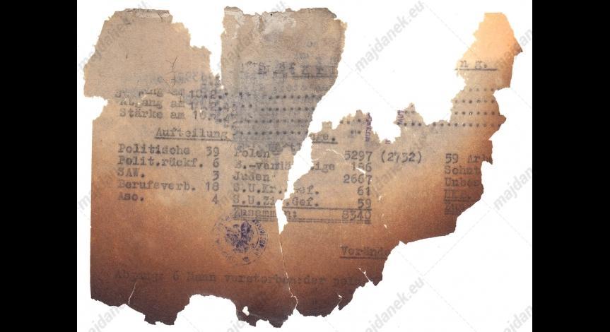 Powiększ obraz: Fragmentarycznie zachowany dokument z 10 lutego 1943 r.