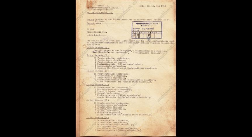 Powiększ obraz: Pierwsza strona niemieckiego raportu sporządzonego po nalocie z 11 maja 1944 r.