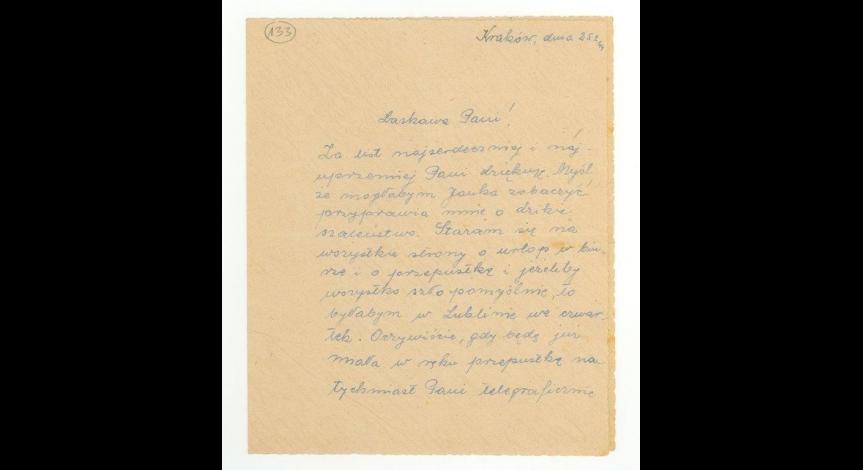List od Heleny Pawłowskiej do Saturniny Malmowej wysłany przed przyjazdem Heleny do Lublina, cz. 1