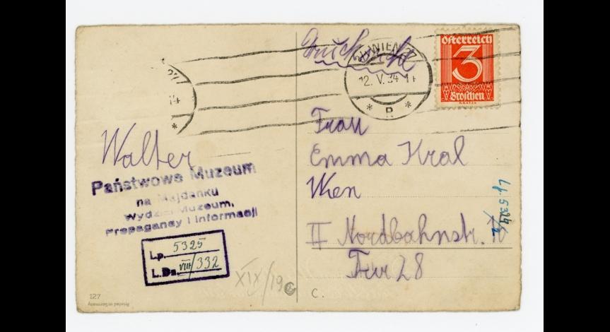 Fot.18. Karta wysłana z okazji Dnia Matki do Emmy Kral przez Waltera Krala, 12 maja 1934 r.