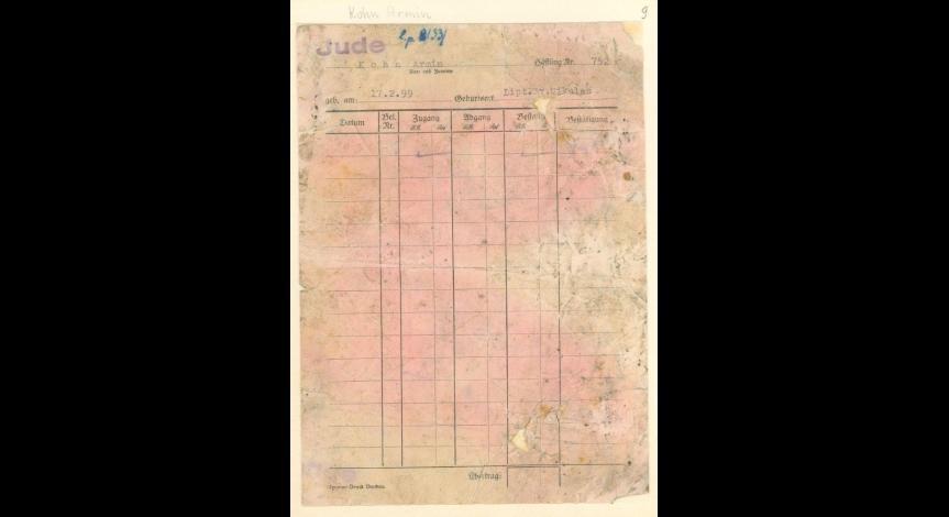 Powiększ obraz: 2. Kartoteka pieniężna żydowskiego więźnia Armina Kohna