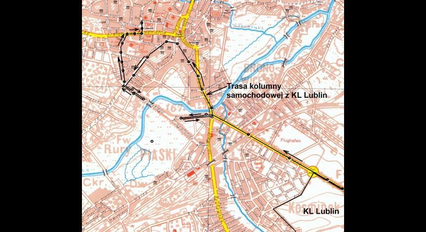 mapa przejazdu przez Lublin kolumny samochodowej z Majdanka