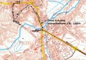 Pokaż powiększenie powyżej: mapa przejazdu przez Lublin kolumny samochodowej z Majdanka