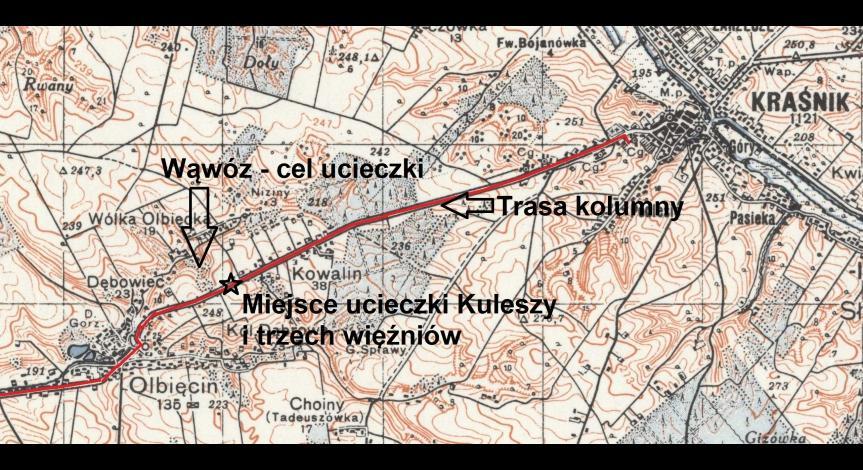 Mapa przedstawiająca miejsce ucieczki