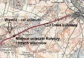 Pokaż powiększenie powyżej: Mapa przedstawiająca miejsce ucieczki