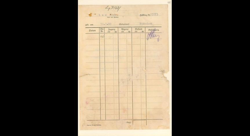 Powiększ obraz: 5. Kartoteka pieniężna więźnia żydowskiego  Isaaka Lewa z Warszawy