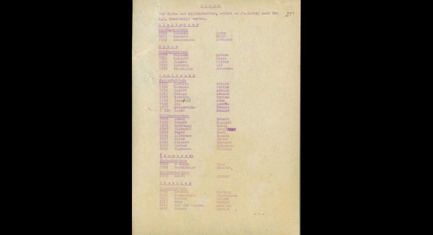 Pierwsza karta wykazu fachowców z 21 lipca 1944 r. z obozu DAW na ul.  Lipowej w Lublinie