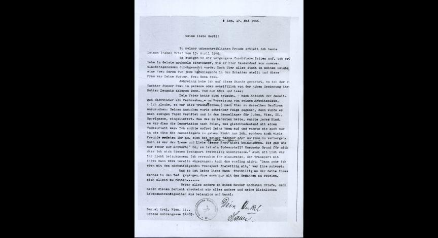 Fot.16. List napisany przez Samuela Krala do Gertrud Felsenburg z d. Kral w maju 1946 r.