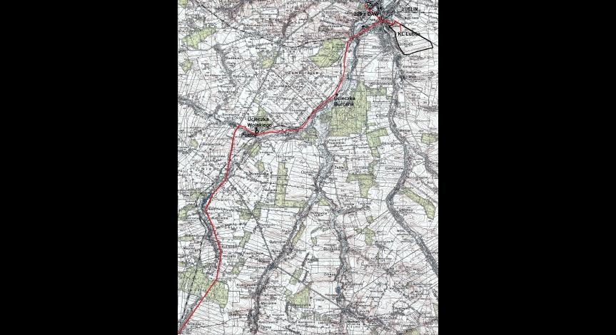 Trasa pieszego transportu z Majdanka w stronę Kraśnika (na mapie do Wilkołaza)
