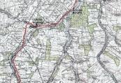 Pokaż powiększenie powyżej: Trasa pieszego transportu z Majdanka w stronę Kraśnika (na mapie do Wilkołaza)