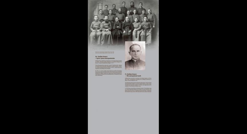 Powiększ obraz: Błogosławieni z Majdanka – ks. Roman Archutowski i ks. Emilian Kowcz. Plansza wystawy