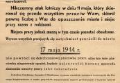 Pokaż powiększenie powyżej: Obwieszczenie Gubernatora Dystryktu Lublin dotyczące powrotu mieszkańców do miasta z dnia 14 maja 1944 r.