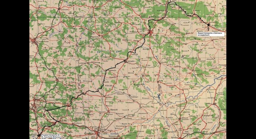Powiększ obraz: Ostatni transport, mapa Ostrowiec