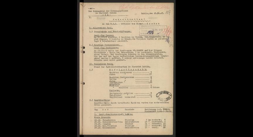 Powiększ obraz: Pierwsza strona meldunku komendy Policji Porządkowej w dystrykcie lubelskim z informacją o uciekinierach z obozu zagłady w Sobiborze