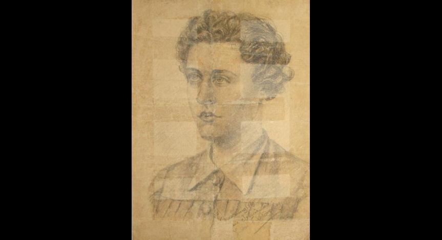 Powiększ obraz: Portret Ireny Szymańskiej wykonany prawdopodobnie w więzieniu we Lwowie w 1942 r.