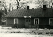 Show larger image above: Post-war photograph of the Sobibór train station.