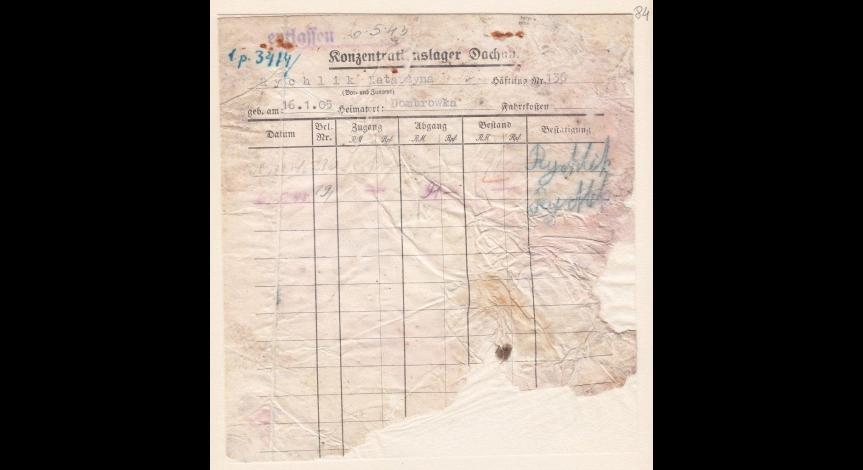 Powiększ obraz: 8. Kartoteka pieniężna więźniarki polskiej Katarzyny Rychlik